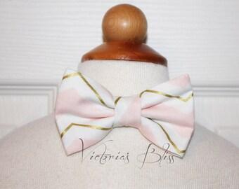 Pink, Gold, White Chevron Bowtie,  bow tie, Boy, Baby, Toddler, Big Boy,Teen, Men's,  Photo Prop, Birthday, Wedding, Victoria's Bliss