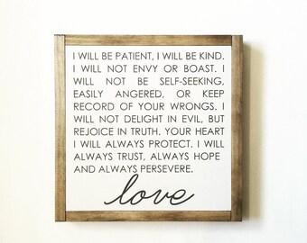 love sign, love is patient, scripture sign, 1 corinthians 13