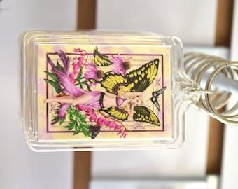 Butterfly Fairy Art Acrylic Key Chain - Fantasy Charm Keyring - The Beauty