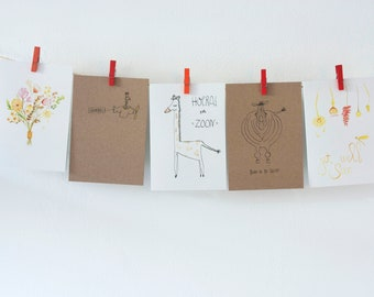 Set of five greeting cards/Congratulation card/Birth Announcement/Blank card/Birthday card/Get well card/Compassion card/Cheers