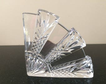 Superb ONE Waterford Crystal Dorset Bookend Or Paperweight, 1 Fan Shaped Glass  Bookend, Clear Cut Images
