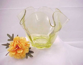 Vintage Tiffin Canterbury Flower Arranger in Citron Color, Yellow Green Mid Century Home Decor, Duncan Miller Crimped Vase in Chartreuse