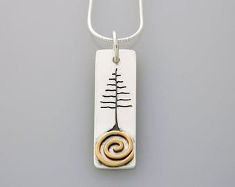 """Mixed metal jewelry,mixed metal tree necklace, nature jewelry  """"Solstice Tree"""" necklace"""