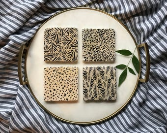 Black Pattern Coasters/beige/floral/dots/ferns