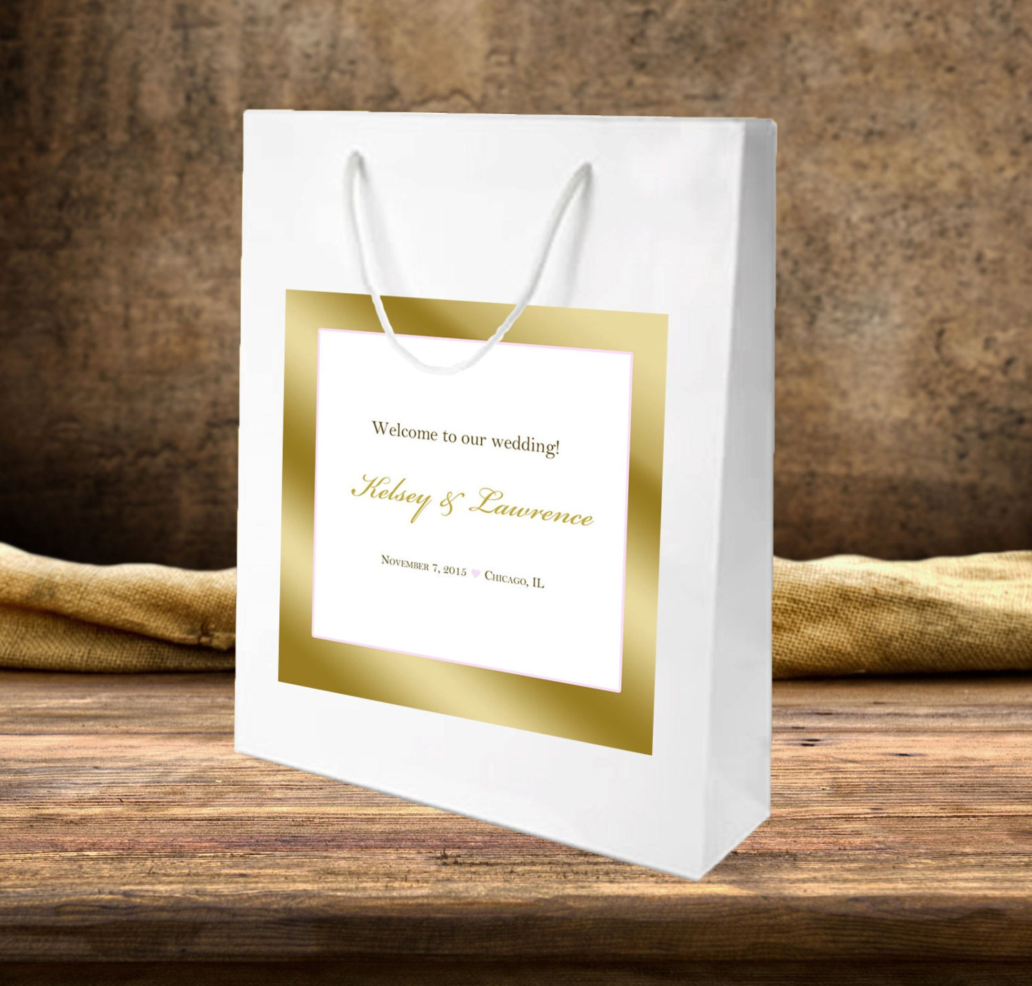 10 Wedding welcome bags Gold ink with blush flexible