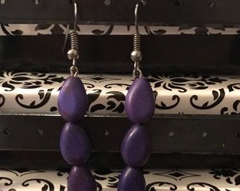 Purple Teardrops Earrings