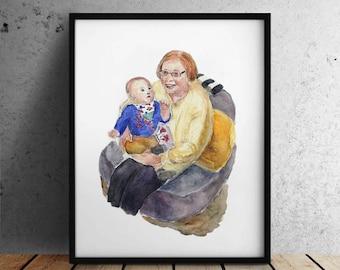 Custom Portrait / Family portrait / Baby portrait from photo / Child portrait / Custom watercolor portrait / Mother's portrait from photo