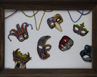 Alli's Masquerade Print, 11X14, Art Print, Mardi Gras, Masks, Beads, New Orleans Art