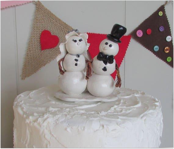 Snowman Bride & Groom Wedding Cake Topper Winter Wedding Cake