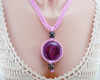 Bohemian Style Necklace, Pendant Necklace, Lavender Cording, Woven Necklace, Agate Stone, Wooden Beads, Adjustable