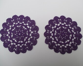 Crochet Doilies(2)-Dark Purple-7.5 inch Diameter