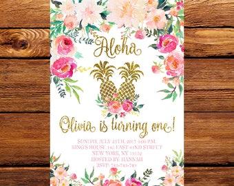 Pineapple Birthday Invitation, Aloha Birthday Invitation, Luau Birthday Invitation, Hawaiian Birthday Invitation, Fruit Invitation 204