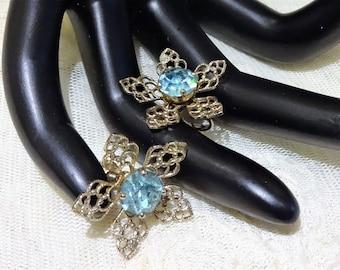 Vintage Filigree Floral Design Blue Rhinestone Earrings