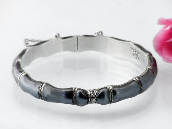 Vintage Sterling Silver Bracelet | Black Niello Silver Bamboo Bracelet | Indigo Black | Hallmarked Siam Silver | Medium Size Hinged Bangle