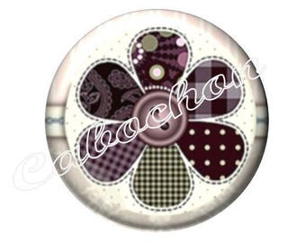 2 cabochons 18mm glass, MOM who tear flower