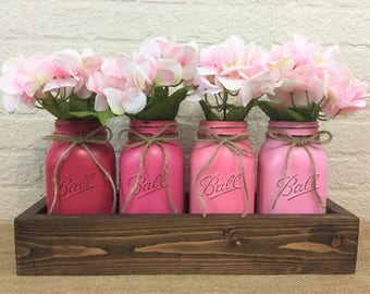 Pretty in Pink Painted Quart Mason Jar  Planter Box  Centerpiece