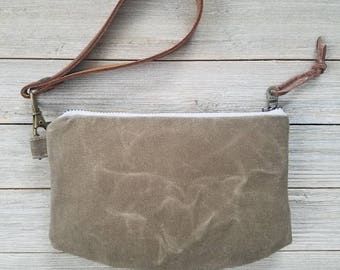 The Chelsea Wristlet, waxed canvas wristlet, leather strap