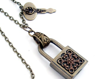 Safe Thoughts - Padlock and Key - Steampunk Necklace Handmade Lock Jewelry
