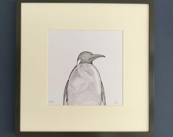 Monochrome Penguin Signed Limited Edition Print 1/50 Unique Illustration.