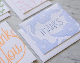 Thanks floral design - box set of 6 - letterpress thank you card