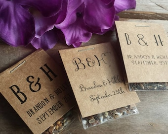 Personalized MINI Wedding Flower Seed Packet Favors Wildflower Seeds Love is in Bloom Bridal Shower Favors Rehearsal Dinner Thank You