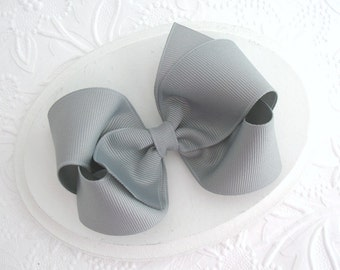 "4"" Grey Boutique Style Hair Bow, Toddlers, Girls"