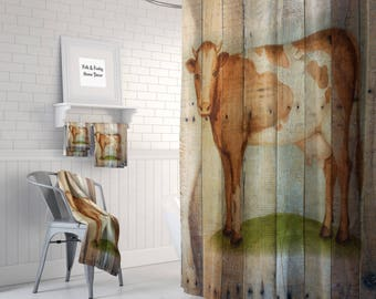Primitive Rustic Shower Curtain Vintage InspiredFaux Wood  Grunge Cow, Optional Bath Mat and Bath Towels