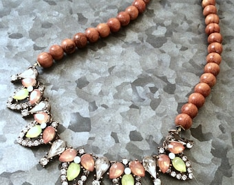 Crystal and wood statement necklace
