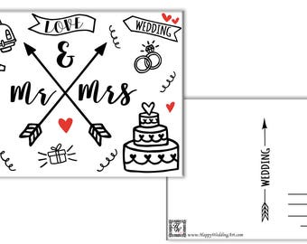 Mr Mrs  Wedding Greetings Card Wedding Gift Card Just Married