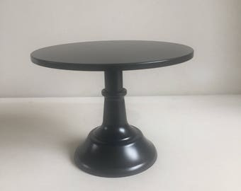 """Metal black cake stand 10"""" diameter. Two heights in one stand"""