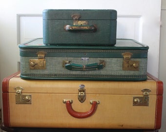 Vintage Hard Sided Luggage Stack // 1950s // Green and Mustard Yellow