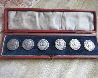 Antique Set of Silver Boxed Buttons - Antique Cased Set of Sterling Buttons Edward V11 English 1902