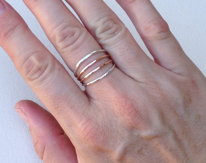 Sterling silver and rose gold fill four band ring handmade