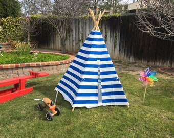 Teepee Tent, Childs Tee Pee, Toddler Teepee, Royal Blue & White Cabana Stripe Canvas Tee Pee, Kids's Indoor/Outdoor TeePee Tents, Wood Poles