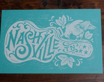 Nashville Song Bird - Blue Block Print