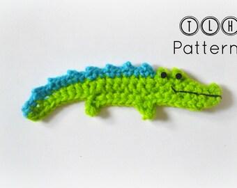 Crochet pattern, crocodile applique pattern, crochet crocodile pattern, pattern no. 66