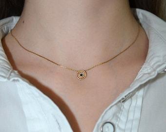 Sapphire Necklace // Stone Necklace Gold - Sapphire Jewelry - Sapphire Drop Necklace - Gemstone Pendant - Tiny Necklace - Gem Necklace