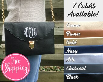 MONOGRAM CLUTCH BAG - Monogrammed Clutch - Personalized Clutch - Makeup Bag - Evening Bag - Monogram Crossbody - Personalized Gift for Her