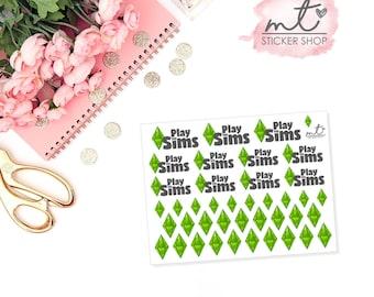 Sims || Planner Stickers || Erin Condren Life Planner, Happy Planner || SKU 035