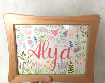 Personalised Watercolour Floral Name