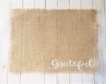 Grateful Placemats, Farmhouse Burlap Placemats, Rustic Table Decor, Burlap Place Mats, Farmhouse Table Decorations, Country Chic Placemats
