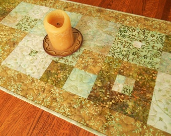 Modern Quilted Batik Table Runner with Flowers and Leaves in Gold Brown Aqua Green, Dining Table Decor, Dresser Runner, Coffee Table Runner
