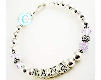 Is purple Nana's favorite color? She will love this bracelet. Or choose any colors or name. Grandma, Mother, grandchild names
