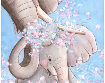 Elephant Themed Girl Baby Nursery, Girl's Safari Nursery Print, Pink Safari Baby Animals, Baby Shower Gift For Girl Elephant Theme Shower