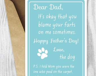 Printable Fathers Day Card, Printable Cards Fathers Day Card, Funny Dog Fathers Day Cards Instant Download, Dog Dad Card, From the Dog