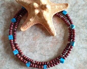 Bohemian bracelet, summer bracelet set, turquoise bracelet, brown bracelet, boho bracelet, gift bracelet, beach bracelet, gift under 10