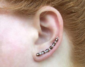 Beaded Silver Ear Climber Earrings, Climbing Earrings, Beaded Earrings, Ear Crawler Earrings, Silver Ear Crawler, Silver Earrings