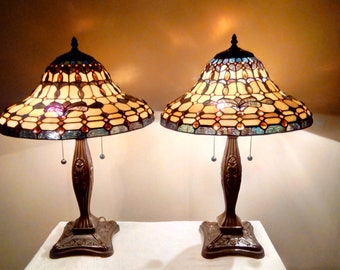 Pair of SPECTRUM Opalescent Tiffany Style Stained Glass Shades with 62 Golden Glass Nuggets on Floral Embossed Brown Metal Base Lamps
