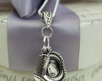 Cowgirl Necklace Hat and boot on Silver bail and Sterling 18 inch chain