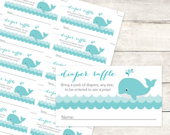 baby shower diaper raffle printable DIY whale waves aqua blue grey cute baby boy gender neutral digital shower games - INSTANT DOWNLOAD